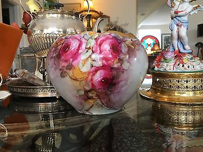 Vntg Hand Paintd Cabbage Pink & Yellow Roses Gold Encrusted Porcelain Jardiniere