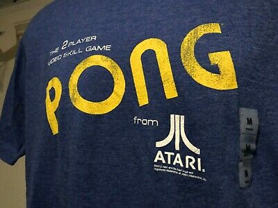 Atari PONG Mens Size Medium Logo T-Shirt Blue With TAGS  NEW 100% Fast Shipping