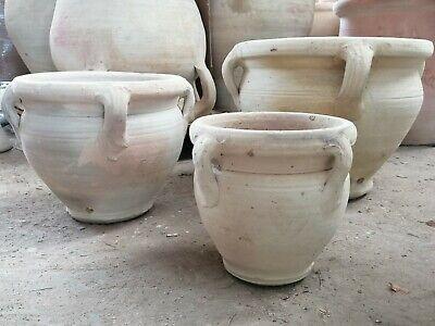 3x Frost Proof Hand Made Terracotta Garden Pots H 16