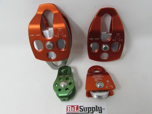 "4 PACK ALUMINUM PULLEYS 1/2"" 5/8"" 3/4"" DOUBLE - ARBORIST CLIMBING RIGGING"