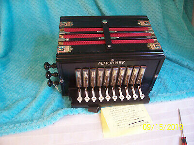 Hohner 1 row Accordion 3 reeds button box Germany Bb key Recently Rebuilt