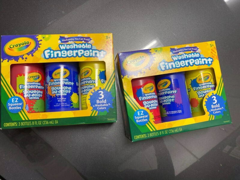 Lot Of 2 Crayola Washable Finger Paint 8 oz 6 Squeeze Bottles Primary Colors Tot
