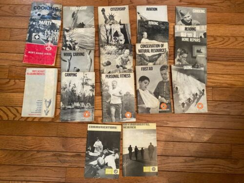 Vintage BSA Boy Scout Requirements Book + 20 Merit Badge Pamphlets 60's & 70's