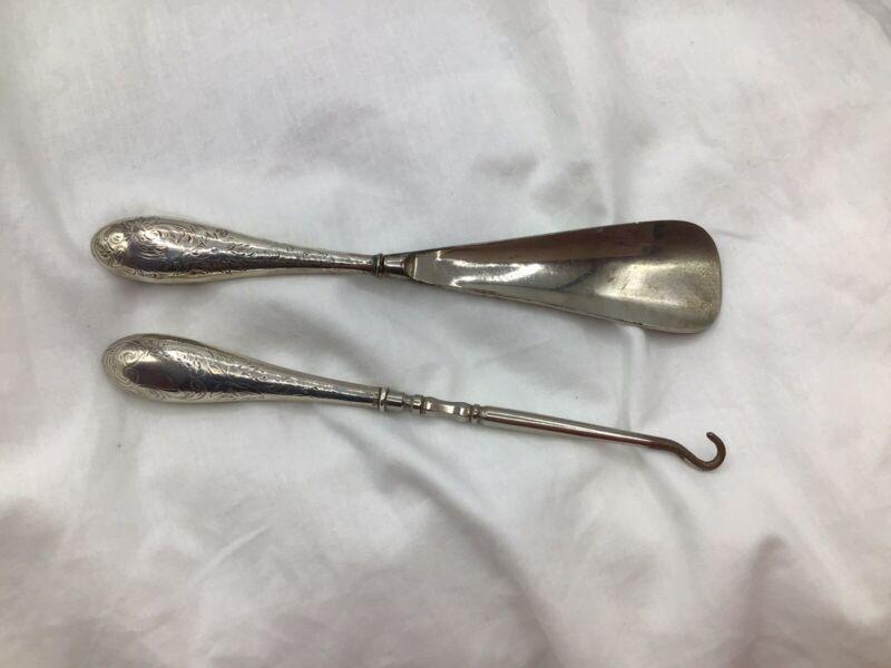 Antique - Victorian Gorham Sterling Silver Handle - Button Hook & Shoe Horn