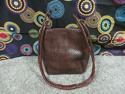Dillards Reddish Brown Checkered Design Leather Shoulder Bag