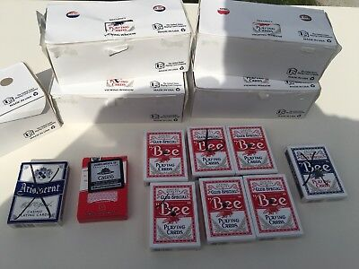 "57 Decks Of Casino Quality ""Bee"" Brand Red/Blue Playing Cards w/Hole Punch Nice!"