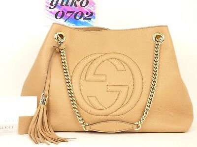 r60147 Auth Gucci Beige Grained Calf Leather Soho Tassel Chain Shoulder Bag