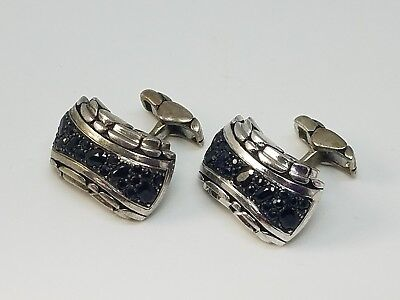 John Hardy Kali Collection Sterling Silver Cufflinks Set with Black (John Hardy Set Cufflinks)