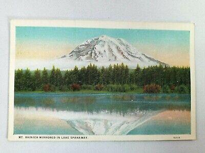 Vintage Postcard Mt. Rainer Mirrored in Lake Spanaway Volcano