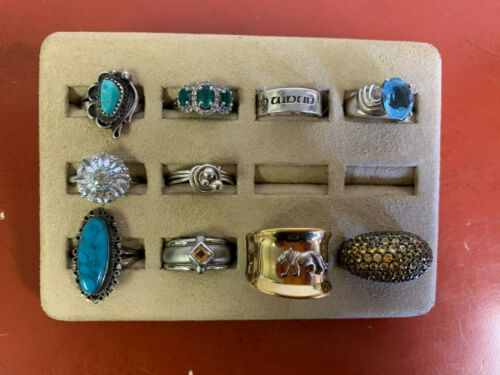 Set Of (10) Sterling Silver Rings Assorted Styles Sizes 7-9.75 Lot #22