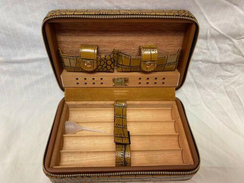 Cohiba Brown Alligator Look Leather Cedar Cigar Humidor Travel Box MINT