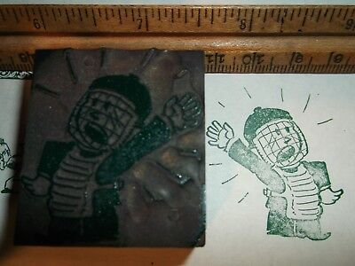 Antique Little League Catcher Cartoon Cut Printing Block Letterpress Vintage
