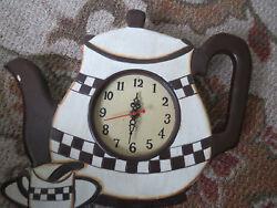 WOOD COFFEE POT & CUP WALL CLOCK 13 x 11 VERY CUTE L@@K!!!