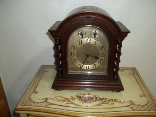 FULLY RESTORED KIENZLE WESTMINSTER CHIME BRACKET CLOCK WITH BARLEY TWIST COLUMNS