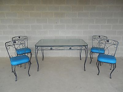 Vintage Mid-Century 5 Piece Wrought Iron Patio Set Table 4 Chairs