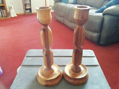 Candle sticks. Pair of Vintage Wooden Handmade.