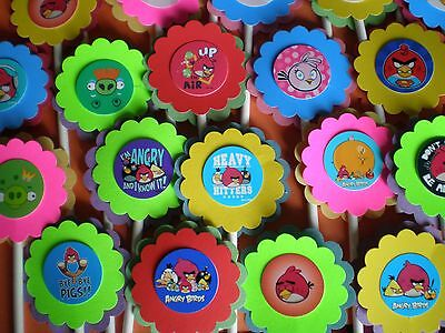 30 ANGRY BIRDS CUPCAKE TOPPERS BIRTHDAY PARTY FAVORS,BABY SHOWER - Angry Bird Party Favors