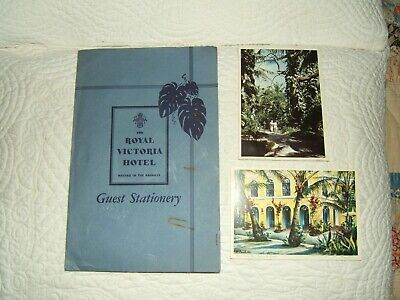 1954 ROYAL VICTORIA HOTEL NASSAU IN THE BAHAMAS GUEST STATIONERY + 2 POSTCARDS