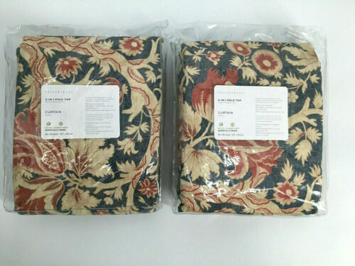 "2 Pottery Barn Farrell Print Linen/Cotton Rod Pocket Curtains 50""x 84"" Blue &Tan"