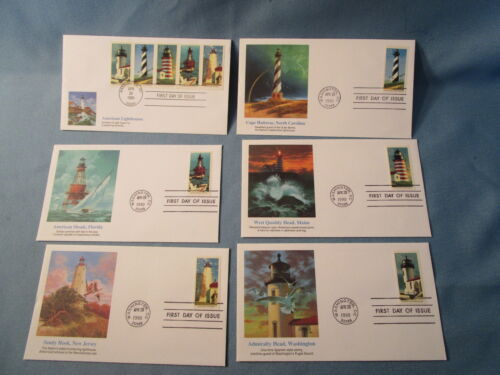 American First Day 1990 LIGHTHOUSES Lot 6 cachet & stamps WASHINGTON DC mint FDI