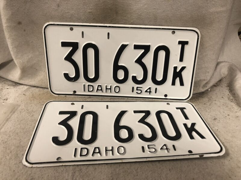 Vintage 1954 Idaho License Plate Pair