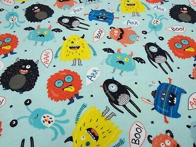 Stoff Baumwolle Jersey Monster türkis bunt Kinderstoff Kleiderstoff gebraucht kaufen  Ennepetal