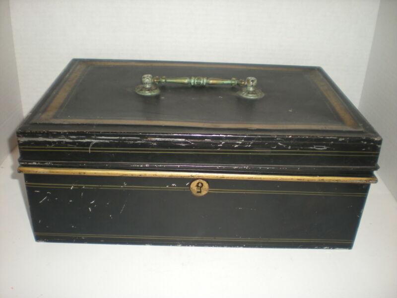 Huge Antique Metal DOCUMENT Cash BOX Black and Gold vtg Toleware Fancy Handle