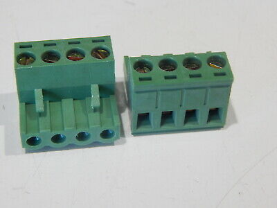 Plug For Pluggable Terminal Block 4pos 15a 300v Pitch 5mm - Lot Of 2 Connectors