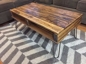Recycled and Reclaimed Wood Rustic Coffee Table on Hairpin Legs