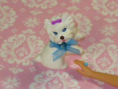 Mattel Barbie Doll Accessory White WESTIE DOG with Blue Bow Pet Puppy Dog