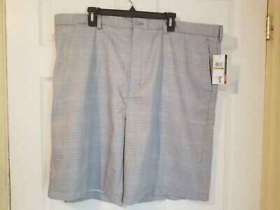 Grand Slam Mens Golf Shorts NWT Sleet Tonal Stripe Polyester Flat Front 10