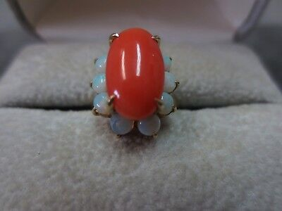 14K Vintage Solid Yellow Gold  Coral Opal Ring Size 4.75