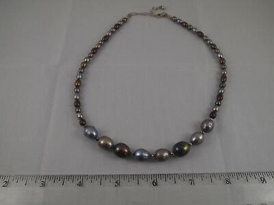 (Graduated Multi Color Pearl Necklace Sterling 925 Adjustable Cultured Freshwater)