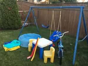 Moving Sale! Bike, table, pool, slip n side and swing set!