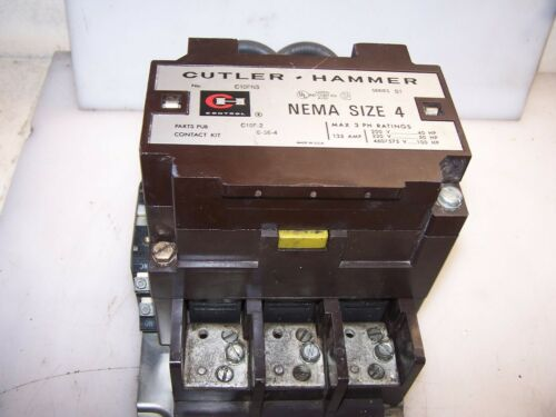 CUTLER HAMMER SIZE 4 MOTOR CONTACTOR 100 HP 135 AMP MAX COIL 480 VAC C10FN3