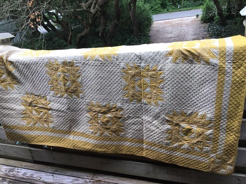 "Vintage Antique Handmade Quilt Yellow Sun Blanket Grace Mead 80"" X 93"""