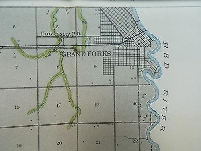 Antique 1902 Map North Dakota Grand Forks Ojata Larimore Arvilla Approx 39 X 15