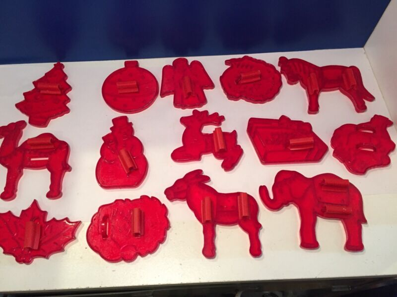 14 Christmas Cookie Cutters Red Plastic Educational Products Vintage