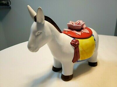 Opal House Fiesta Ceramic Donkey Horse Burro Cookie Jar Canister Flower Spanish