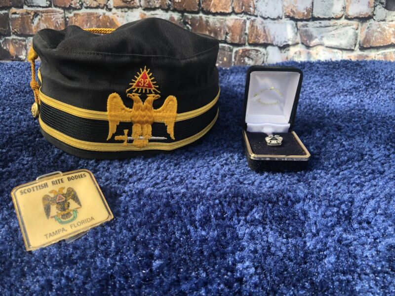 VTG MASONIC Scottish Rite 32 DEGREE HAT Freemason SHRINER Double Eagle W Pin W08