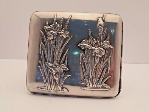 Beautiful European Silver  Art Nouveau Cigarette Case with Iris