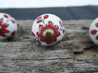 - Red Flower Floral Clay Ceramic Knob Drawer Pull - Rustic Romantic Country ~ Boho