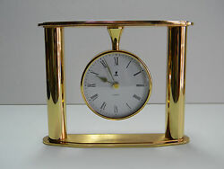 Beautiful Elite  Bright Brass Mantel, Shelf or Desk Quartz Clock Made In England