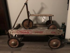 Old kids wooden wagon & tricycle toys set. Rustic decor.