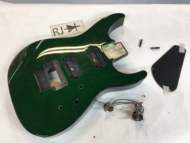 90's Jackson Japan Dinky Reverse DR3 Electric Guitar Body Green Trans Flame