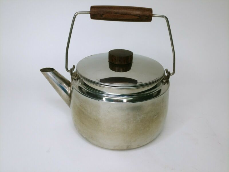 Vintage Farberware Stainless Steel Wood Handle 3qt Teapot Kettle