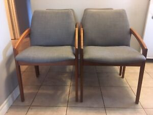 Mid century modern Danish Teak dining chairs - newly upholstered