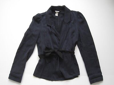 women's H&M laid-back jacket / blazer with belt in navy size 4 /34