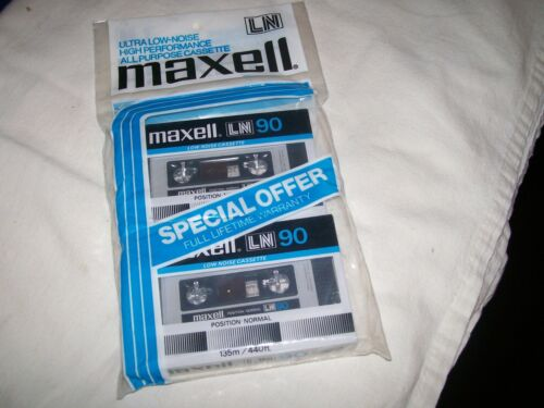 Vintage Pack of 2 Maxell LN90 LN 90 Audio Cassette TapesNIP Free Shipping