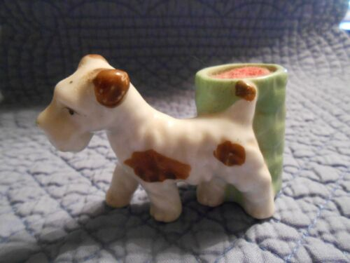 Beautiful Vintage Terrier Figurine Pin Cushion Made in Japan